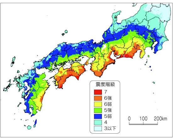 南海トラフ地震の震度予測