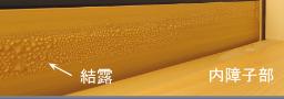 アルミ樹脂複合サッシ(半樹脂サッシ)の結露状況