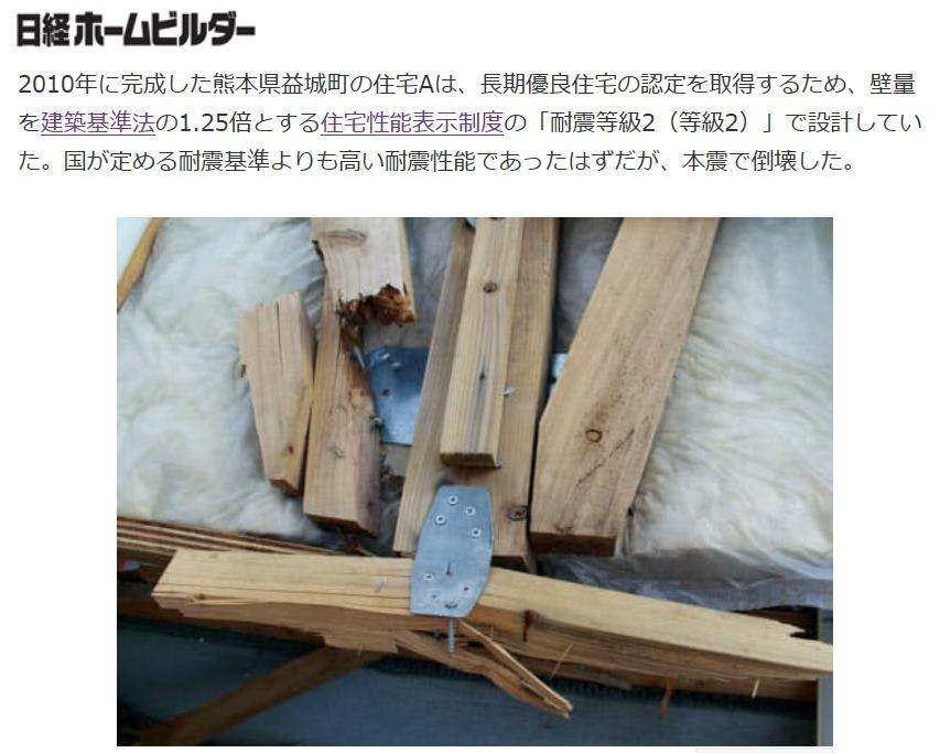 熊本地震では耐震等級2でも倒壊していた