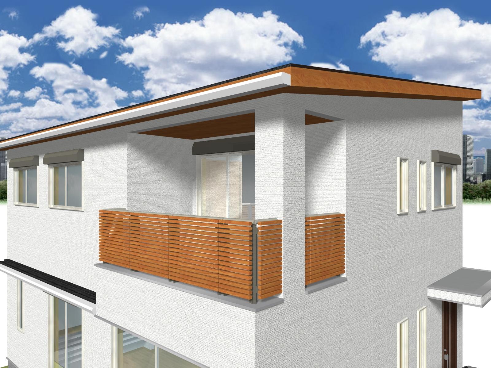屋根付きバルコニーは2面開口で、風通しを確保
