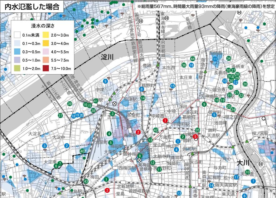 内水氾濫のハザードマップ。整備されていない地域が多い。