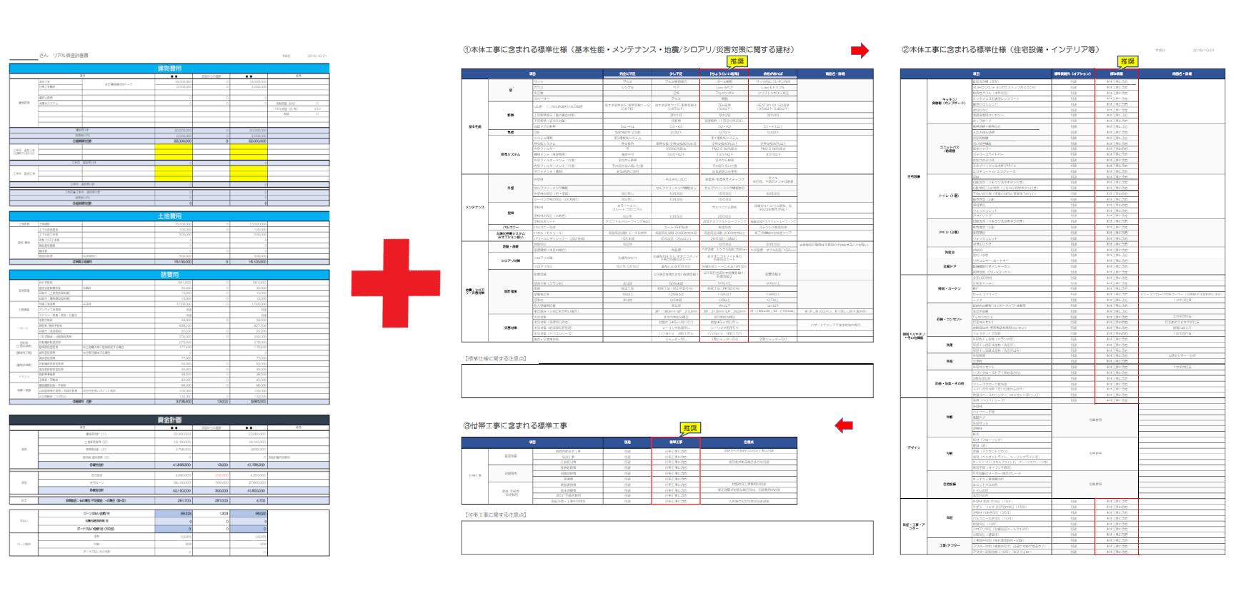 「リアル資金計画書」と「標準仕様チェック表」をセットで使う